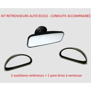 KIT 3 RETROVISEURS 2 RETRO AUXILIAIRES EXTERIEURS 1 RETRO INTERIEUR à VENTOUSE AUTO ECOLE ou CONDUITE ACCOMPAGNEE securité