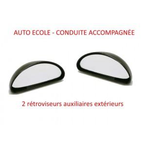 KIT 2 RETROVISEURS AUXILIAIRES EXTERIEURS CONDUITE ACCOMPAGNEE AUTO ECOLE MIROIR SECURITE  mirroir additionnel